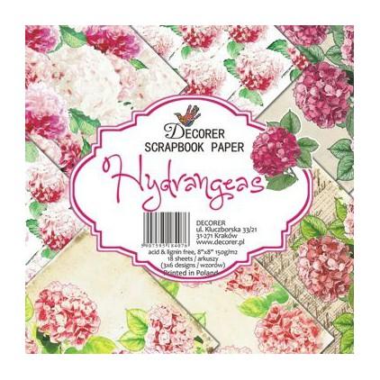 Decorer - Zestaw papierów do scrapbookingu - Hydrangeas