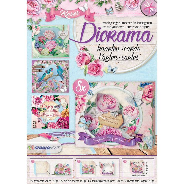 Scrapbooking paper pad - Studio Light - Diorama Roses - Die Cut Block