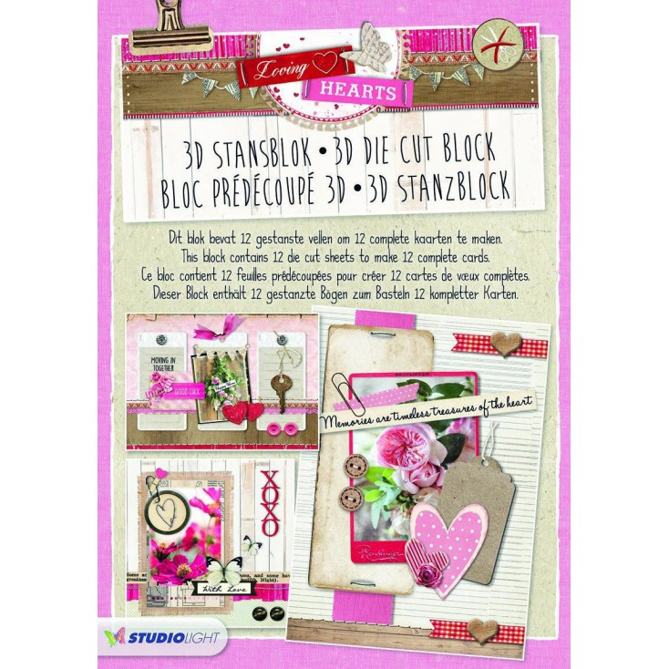 Blok papierów do tworzenia kartek i scrapbookingu - Studio Light - Loving Hearts - Die Cut Block