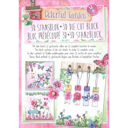 Blok papierów do tworzenia kartek i scrapbookingu - Studio Light - Colorful Garden - Die Cut Block