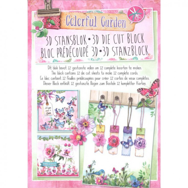 Scrapbooking paper pad - Studio Light - Colorful Garden - Die Cut Block