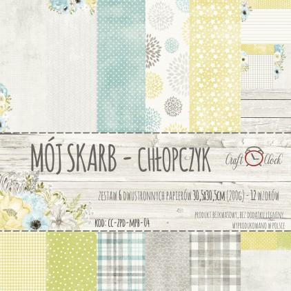 Zestaw papierów do tworzenia kartek i scrapbookingu  - Craft O Clock - Mój Skarb Chłopczyk
