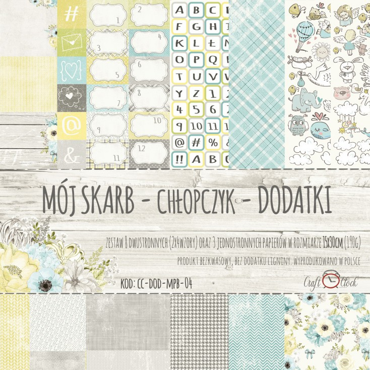 Set of scrapbooking papers - Craft O Clock - My Precious Boy Extras