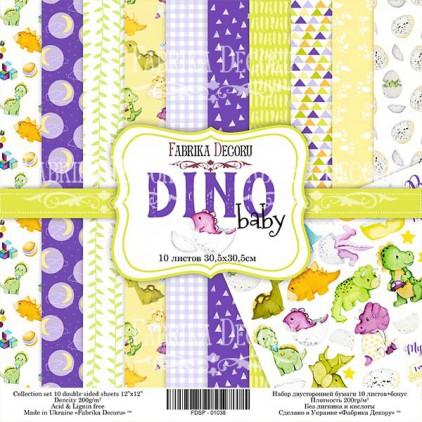 Zestaw papierów do tworzenia kartek i scrapbookingu - Fabrika Decoru - Mały dinozaur