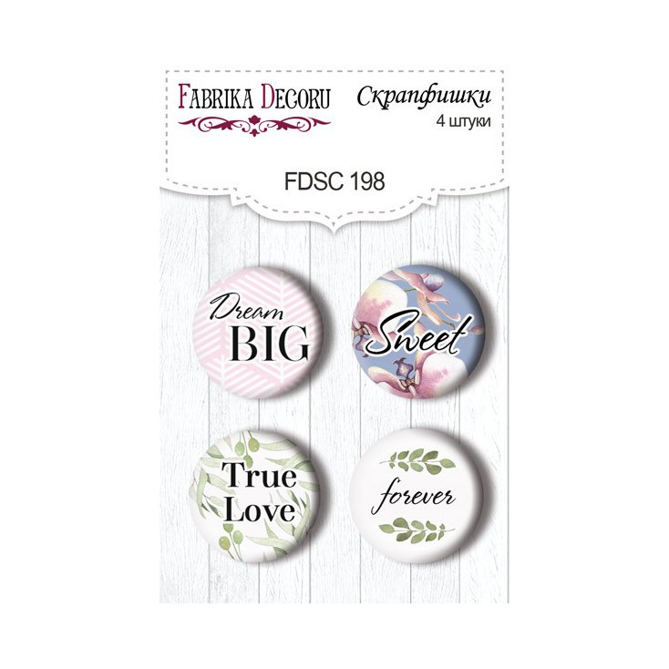 Selfadhesive buttons/badge - Fabrika Decoru - Tender Orchid 01