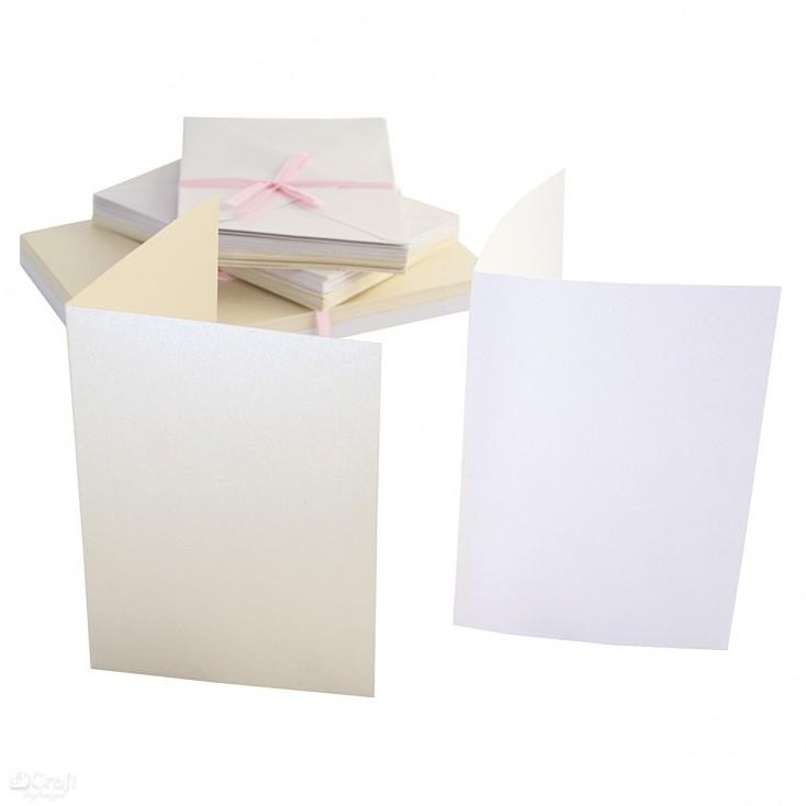 Bazy kartkowe plus koperty - A5 - zestaw 50 sztuk - perłowe - kremowe