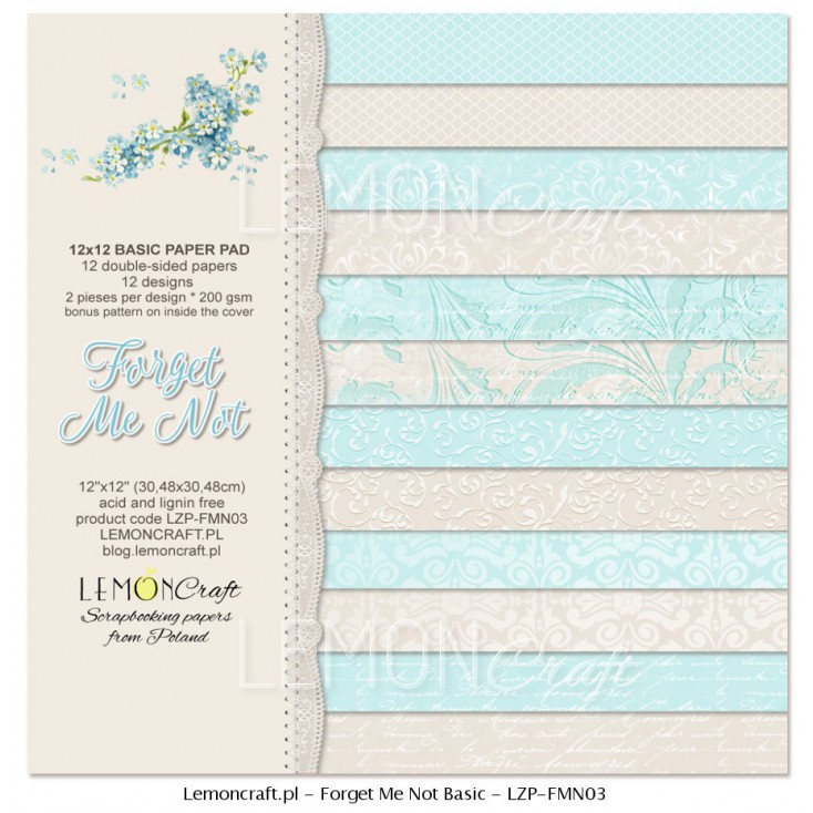 Stack of basic scrapbooking papers - Forget Me Not