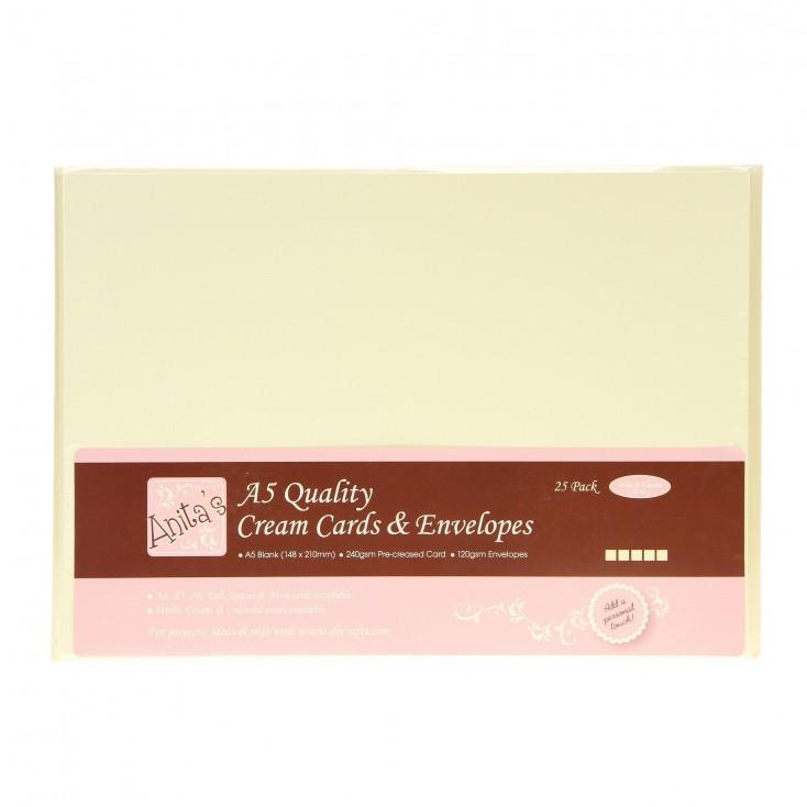 Bazy kartkowe plus koperty - A5 - zestaw 25 sztuk - kremowe
