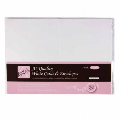 Bazy kartkowe plus koperty - A5 - zestaw 25 sztuk - białe