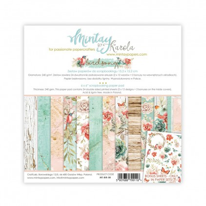 Scrapbooking paper pad - Mintay Papers - Bird Song