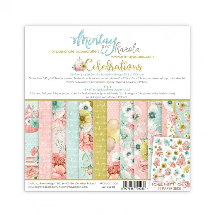 Scrapbooking paper pad - Mintay Papers - Celebrations