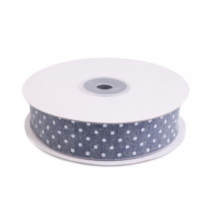 Cotton tape - greywith white dots
