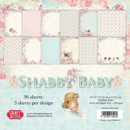 Mały bloczek papierów do scrapbookingu - Craft and You Design - Shabby Baby
