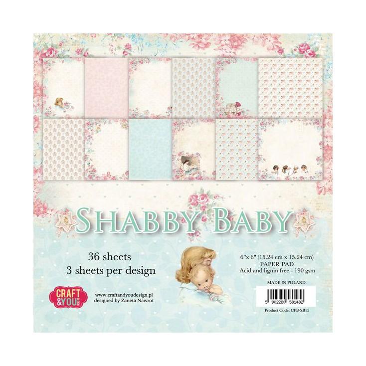 Craft and You Design - Mały bloczek papierów do scrapbookingu - Shabby Baby
