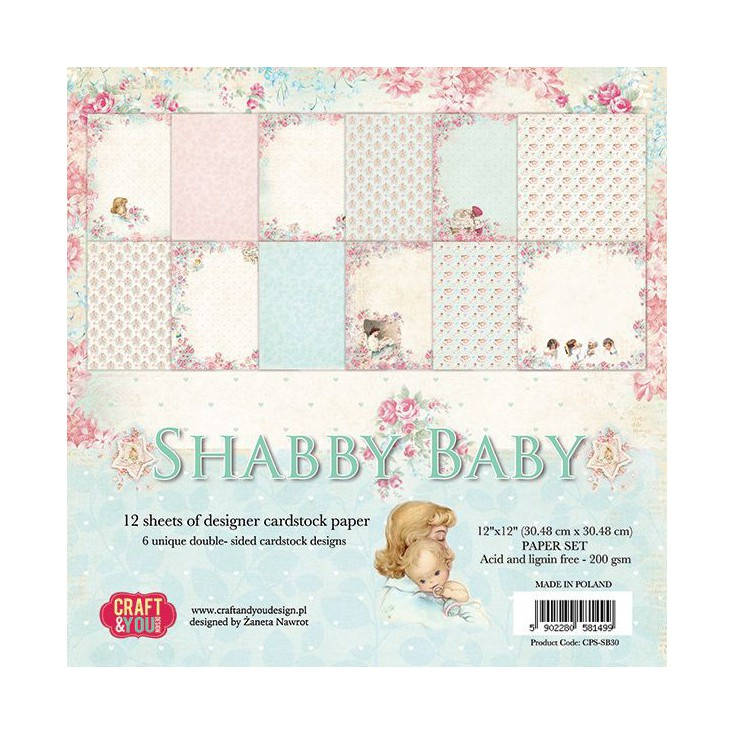 Set of scrapbooking papers - Craft and You Design - Shabby Baby