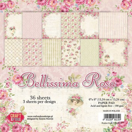 Pad of scrapbooking papers - Craft and You Design - Bellissima Rosa