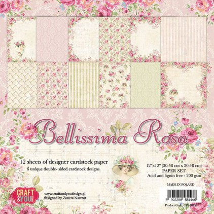 Zestaw papierów do scrapbookingu - Craft and You Design - Bellissima Rosa