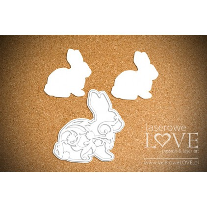 Laser LOVE - Cardboard -Rabbit with Lily of the Valley - Happy Easter