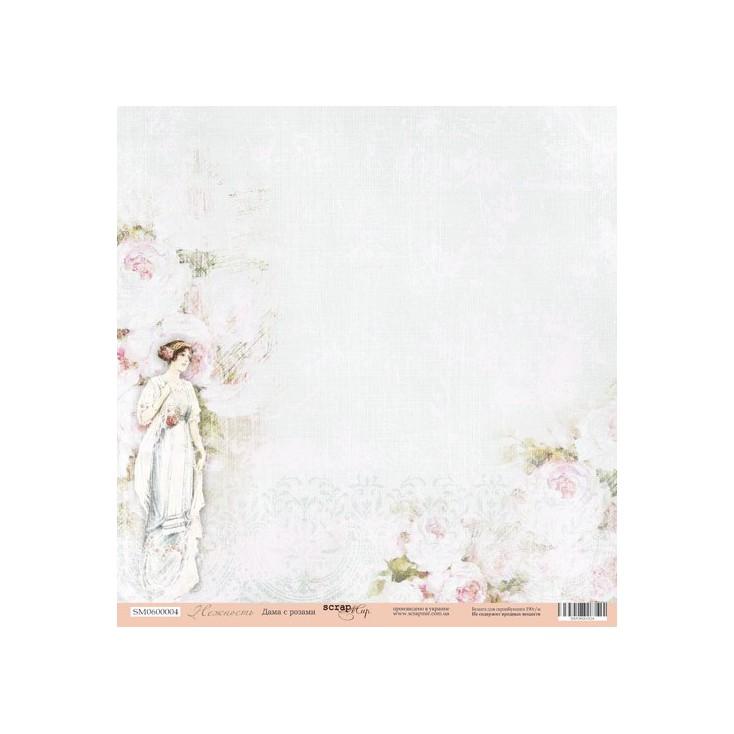 Papier do tworzenia kartek i scrapbookingu - ScrapMir - Dama z różami 01