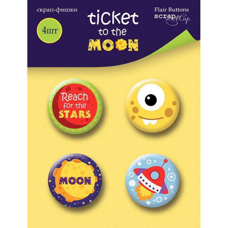 Ozdoby samoprzylepne, buttony - ScrapMir - Bilet na księżyc