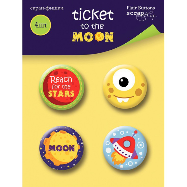 Selfadhesive buttons/badge - ScrapMir - Ticket to the moon