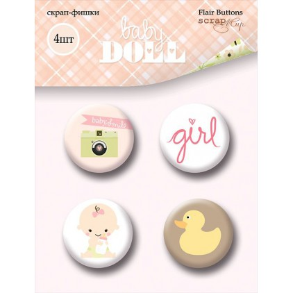 Selfadhesive buttons/badge - Scrap Mir - Baby Doll