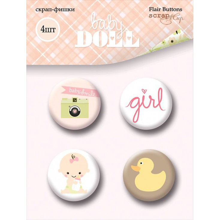 Selfadhesive buttons/badge - ScrapMir - Baby Doll