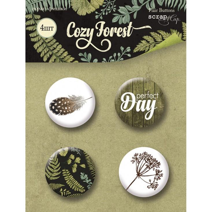 Ozdoby samoprzylepne, buttony - ScrapMir - Cozy Forest