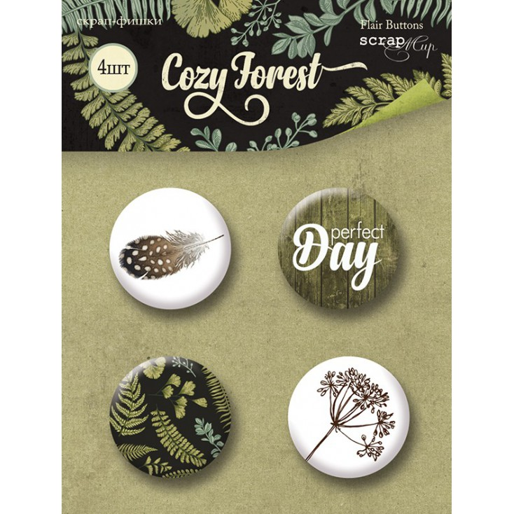 Selfadhesive buttons/badge - ScrapMir - Cozy Forest