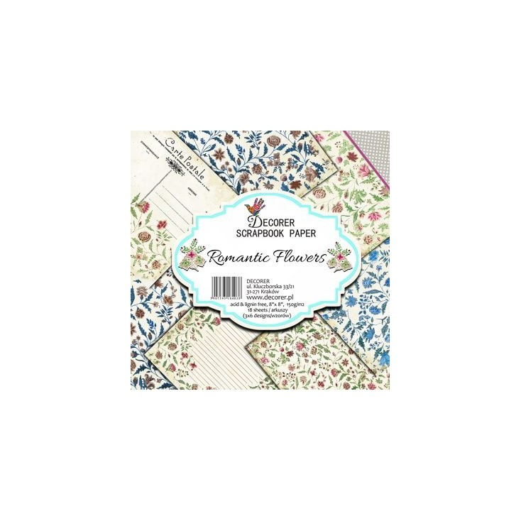 Decorer - Set of scrapbooking papers - Romantic Flowers