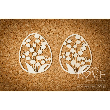 Laser LOVE - Cardboard - Easter eggs with Lily of the Valley - 2 pcs. - Happy Easter