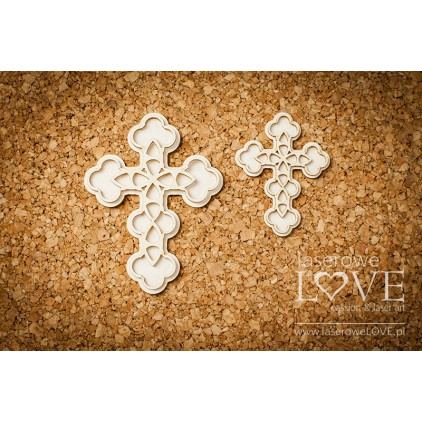 Laser LOVE - Cardboard openwork crosses - 2 pcs. - Baby lily
