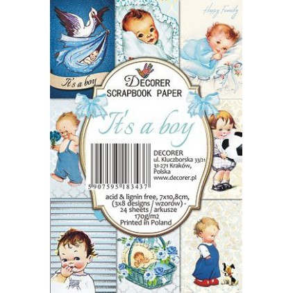 Decorer - Set of mini scrapbooking papers - It's a boy