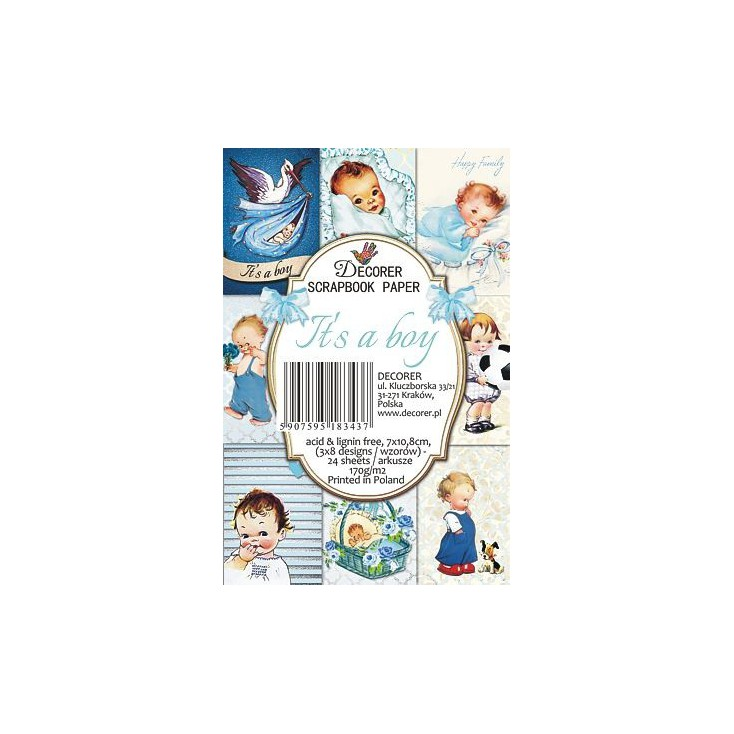 Decorer - Set of mini scrapbooking papers - It's a boy