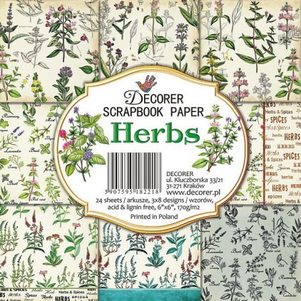 Decorer - Set of scrapbooking papers - Herbs