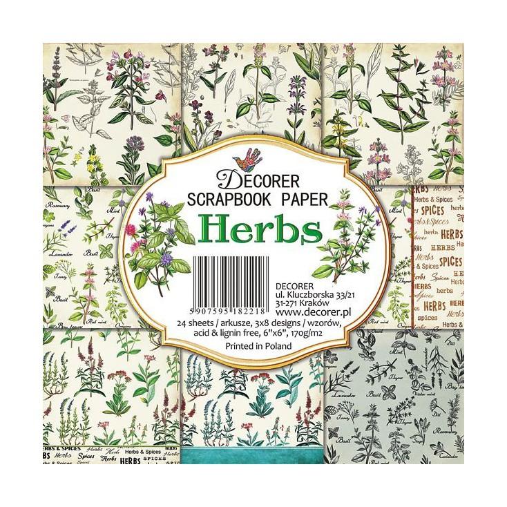 Decorer - Zestaw papierów do scrapbookingu -Herbs