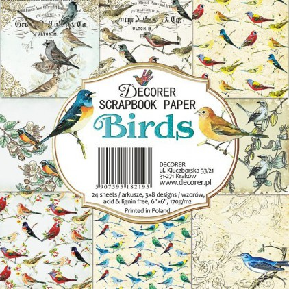 Decorer - Set of scrapbooking papers - Birds