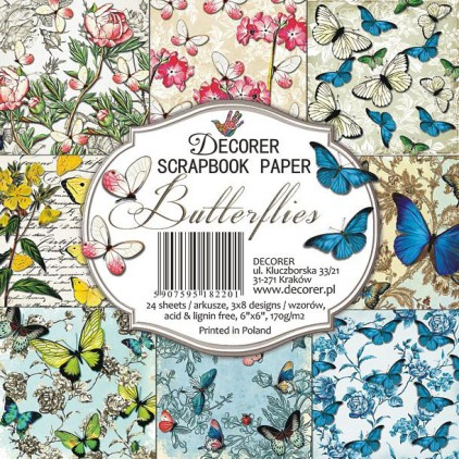 Decorer - Set of scrapbooking papers - Butterflies