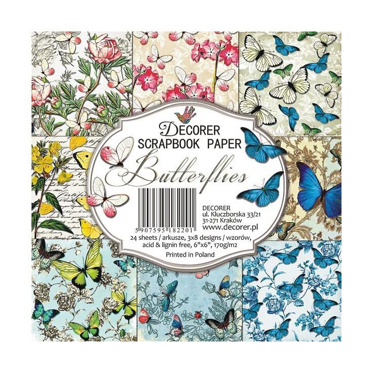 Decorer - Set of scrapbooking papers - Butterflies