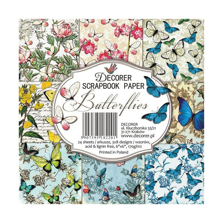 Decorer - Mały bloczek papierów do scrapbookingu -Butterflies
