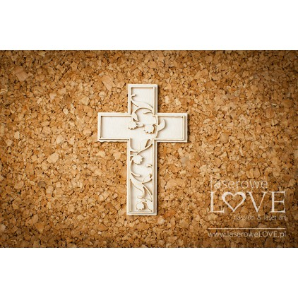 Cardboard - Cross with the lilly of valleys - 1pcs. - Baby lily- LA171153 - Laserowe LOVE