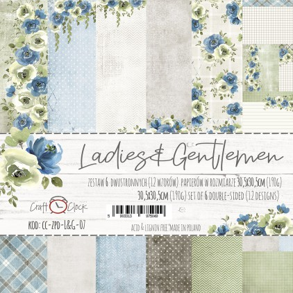 Set of scrapbooking papers - Craft O Clock - Ladies & Gentelmen