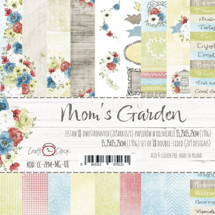 Pad of scrapbooking papers - Craft O Clock - Mom's Garden
