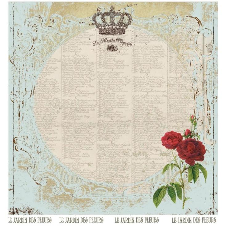 Papier vintage z czerona różą - Papier do scrapbookingu - La Blanche - Garten 01