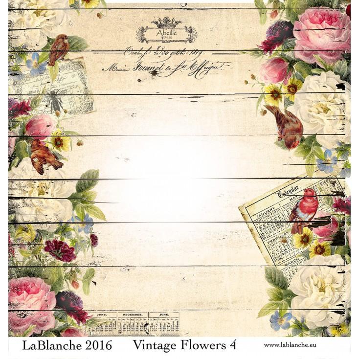 Papier do scrapbookingu - La Blanche - Vintage Flowers 03