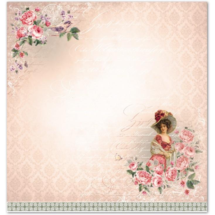 Scrapbooking paper - La Blanche - Rosen 04