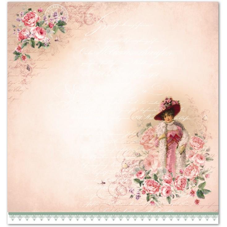 Scrapbooking paper - La Blanche - Rosen 06