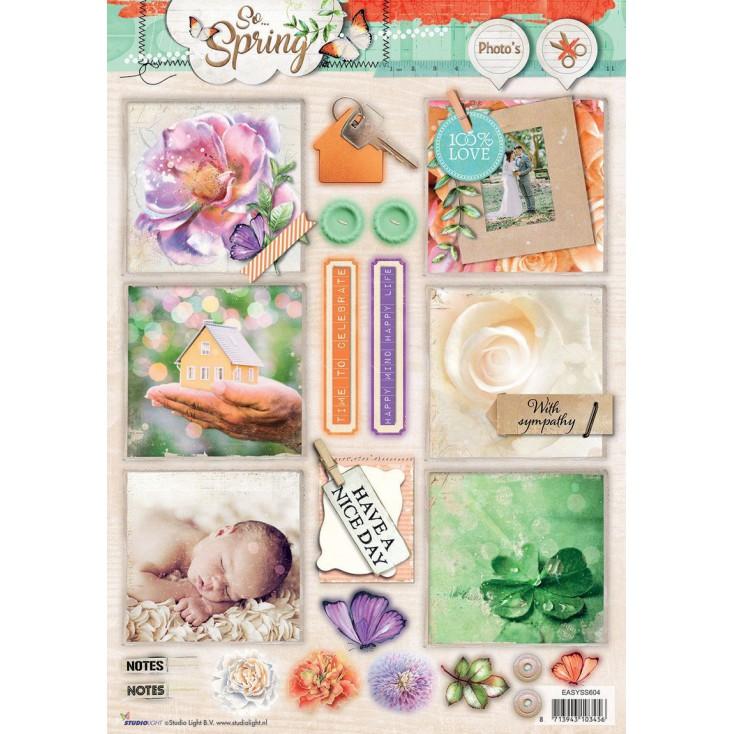 Papier do tworzenia kartek i scrapbookingu - Studio Light - So Spring - Obrazki do budowania kompozycji 01