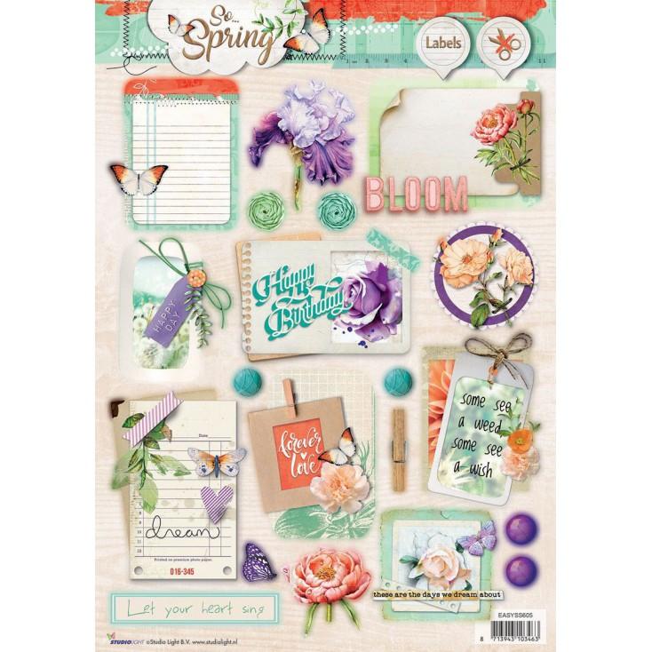 Papier do tworzenia kartek i scrapbookingu - Studio Light - So Spring - Obrazki do budowania kompozycji 02
