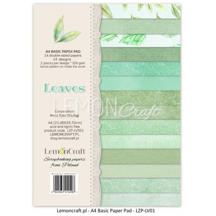 Stack of basic scrapbooking papers - Leaves 01